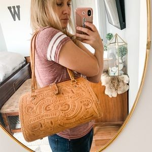 Vintage | Hand Tooled Leather Satchel Purse Bag
